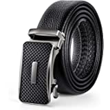 "Men's Belt Genuine Leather Ratchet Belt for Men with Automatic Sliding Buckle Black 35mm Wide 125CM(47"")Trim to Exact Fit"
