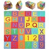 Swonuk Puzzle Tapis Mousse Bébe, 36 Pièces Tapis de Jeu pour Enfants, Puzzle Mousse Alphabet & Chiffres(15x15cm)