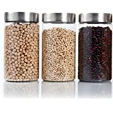 PEARLPET Transparent Plus Jar Container with Stainless Steel Matt Finish Cap, Set of 3 Pieces