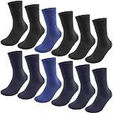QINCAO Calcetines Hombres Mujeres 12 Pares Ejecutivos de Algodón Transpirables Uso Diario, Paquete de 12 Calcetines Deportivo