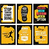ArtX Paper Inspirational Quotes Wall Art Painting, Multicolor, Motivational, 10.5X13.5 in, Set of 6