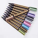 Metallic Marker Pens, Set of 10 Assorted Colours Painting Pens Art Marker for Card Making, Scrapbooking, DIY Photo Album, Pla