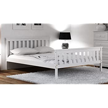Pine Wood Bed White 4ft Small Double 120x190cm Teen Frame with Slats ...
