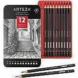 Arteza Professional Drawing Sketch Pencils Set of 12, Medium (6B - 4H), Ideal for Drawing Art, Sketching, Shading, Artist Pen