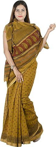Tribes India Women's Cotton Maheswari Border Block Printed Saree With Blouse Piece(Multi coloured,6 Mtr.)