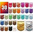 Mica-poeder 30 kleuren (10 g / 0,35 oz, totaal 300 g / 10,5 oz), MENNYO natuurlijke pigmenten Glitter epoxyharsverf voor zeep