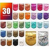 MENNYO Poudre de Mica, Colorant de Savon 30 Couleurs (10g), Pigments Résine Époxy Poudre en Mica + Poudre de Paillettes pour