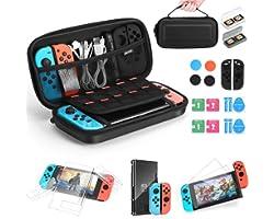 iAmer 11 en 1 Accessoires pour Nintendo Switch, Housse pour Nintendo Switch,Protection Transparente,2 Verre Trempé,Protection