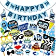 WOBBOX Eight Birthday Photo Booth Party Props Blue for Baby Boy with 8th Birthday Bunting Banner for Baby Boy in Blue, 8th Bi
