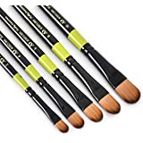 Artist's Den Hobby Essential Synthetic Hair Brushes Set of 5 for Acrylic, Watercolor, Gouache & Oil Painting (Filbert Brushes
