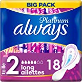 Always Platinum Long (T2) Serviettes Hygiéniques Ailettes- 18 pièces par paquet - Set de 2