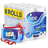 Fine Sterilized Kitchen Super Towel Pro, 70 Sheets - 3 Ply, 8 Rolls + Food Container ' 1 Units