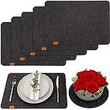 DINING concept Zestaw 6 podkładek filcowych z filcu antracytowego z gratisowymi dekoracyjnymi podkładkami filcowymi na talerz
