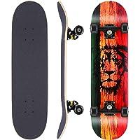 WeSkate tavola da Skateboard Completa tavola in Legno 79x20cm con Cuscinetti a Sfera ABEC-11 31 Pollici in Legno di…