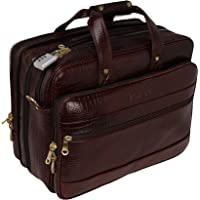 RICHSIGN Leather Accessories Expandable Leather Laptop Bags for Men Office 15.6 inch