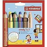 Kleurpotlood, waterverf & waskrijt- STABILO woody 3 in 1-6 stuks met puntenslijper - met 6 verschillende kleuren