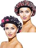 2 Pièces Bonnet en Satin Chapeau de Sommeil de Nuit Bonnet de Sommeil pour Femmes Filles