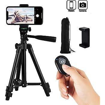Hitchy Handy Stativ Kamera Stativ 26 Zoll 65cm Aluminium-Leichtbau Smartphone Stativ f/ür IPhone//Samsung//Huawei und Kamera mit Bluetooth-Fernbedienung Schwarz