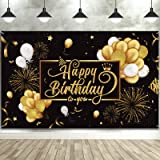 Happy Birthday Backdrop Banner Large Black Gold Balloon Star Fireworks Party Sign Poster Photo Booth Backdrop for Men Women 3