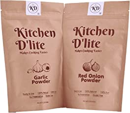 Kitchen D'lite Pack of Red Onion Powder Dry 150gm & Garlic Powder Dry 150gm