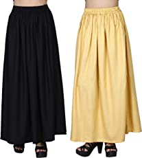 Comfort Fit Maxi Skirts for Women, Girls combo 02 by Dada Shopy (Black::Beige)