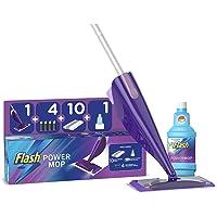 Flash Powermop Starter Kit, Mop + 10 Absorbing Refill Pads + 500 ml Cleaning Solution + 4 Batteries, Fresh