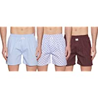 Longies Men's Printed Cotton Boxers (Combo Pack of 3)