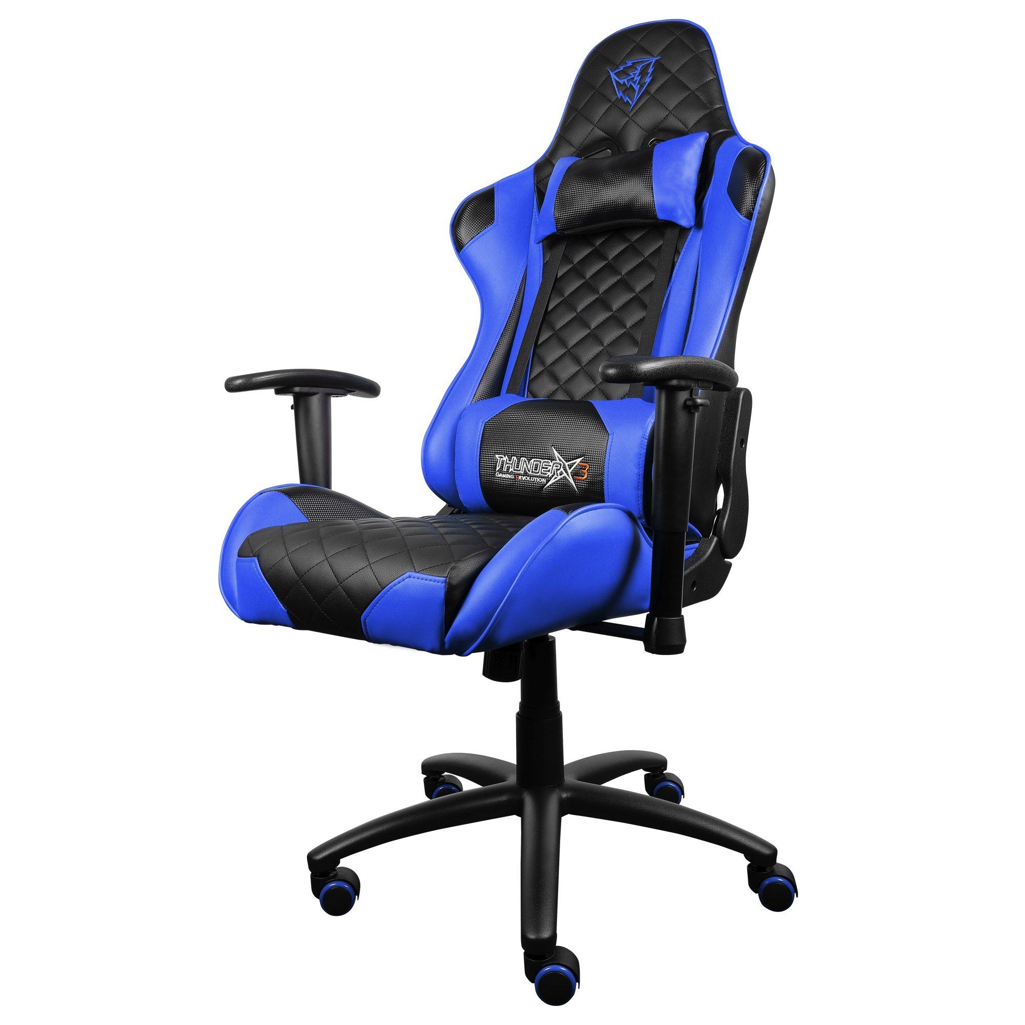 ThunderX3 TGC12BB- Silla gaming profesional- ( Estilo racing, Cuero sintetico, Inclinación y altura regulables, Apoyabrazos, Acolchada, Reposacabezas, Cojín lumbar) Color Azul y Negro
