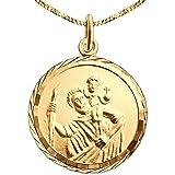 CLEVER drachensilber dorato ciondolo San Cristoforo rotonda diametro 16 mm con bordo diamantato viennagold oro 333 catena con