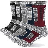 YUEDGE 5 Paires Hommes Chaussettes de Sport épais Mèche Chaussettes de Travail en Coton