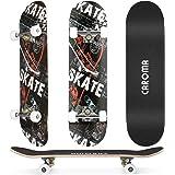 Skateboard per Principianti,79cm×20cm Completo Skate Boards,9 Strati Acero Deck Double Kick Concave Standard Trick Cruiser Sk