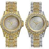 Lancardo Orologio da Polso al Quarzo da Uomo Donna, Semplice ed Elegante, con Quadrante Rotondo Pieno di Diamanti e Cinturino