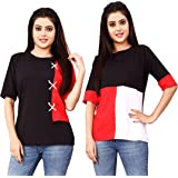 DHRUVI TRENDZ Women Printed Top with Half Sleeves for Office Wear, Casual Wear, Under 399 Top for Women/Girls Top(Black&Red)