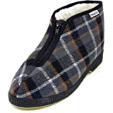 EMANUELA, Pantofole Uomo Chiuse Stivaletto Invernale in Tessuto Multicolore, Fodera Lana, Suola Antiscivolo