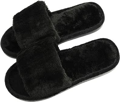 Pantofole da donna infradito con morbida pelliccia sintetica e memory foam, per interni ed esterni