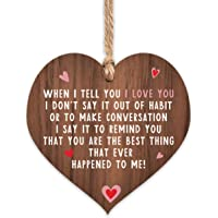 I love you plaque | gifts | heart for her | signs hanging girlfriend boyfriend women | wooden keepsake sign gift | wife…