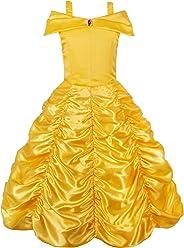 JerrisApparel Mädchen Belle Kostüm Prinzessin Kleid Drop Shoulder Cosplay Kostüm
