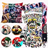 My Hero Academia Pillow Cover Stickers Set - 1 MHA Pillow Case, 12 Stickers, 30 Postcards, 4 Button Pins, 1 Lanyard, 1 Phone