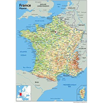 Wall Map Of France Physical Map Paper Laminated 84 X 59