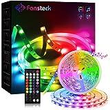 Fansteck Tira LED RGB 5050, Tiras LED Música, Luces Led TV 5M Control Remoto 12V LED Strip Luces Decorativas para Habitación