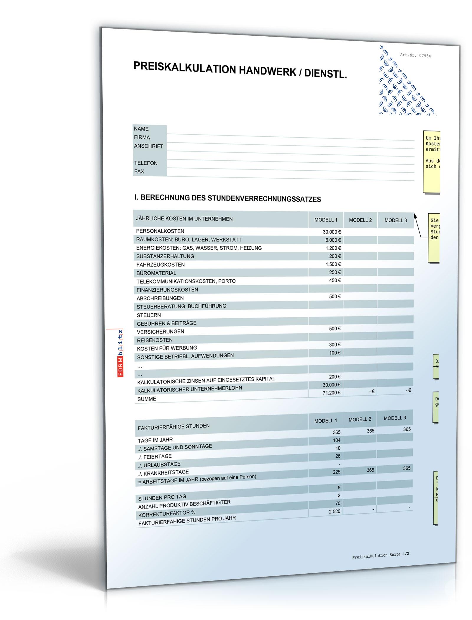 Preis- und Angebotskalkulation Spreadsheet Document [Download]