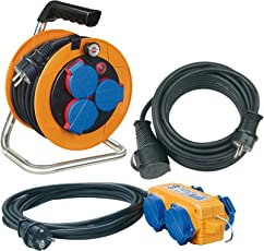Brennenstuhl Power-Pack-Set IP44 / Kabeltrommel Baustellenset (10+5+10m Kabel - Spezialkunststoff, Baustelleneinsatz, Made In Germany) orange
