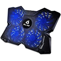 """KLIMâ""""¢ Wind - Laptop Cooling Pad - The Most Powerful Rapid Action Cooling Fan - Laptop Stand with 4 Cooling Fans at 1200 RPM - USB Fan - Compatible New 2020 Version - Blue"""