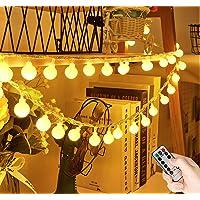[60 LED] lichterkette Batterie Außen/Innen , 8 Modi 7M Lichterkette Kugel mit Fernbedienung Wasserdicht…