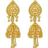 DzineTrendz Gold plated, Faux Kundan Simple Sober, Jhalar (Tassled) Jhumki Ethnic Earring