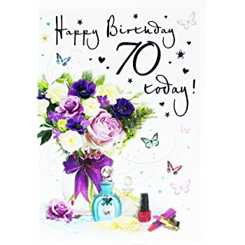Happy 70th Birthday Greeting Age Card For Ladies Hallmark Verse Flowers Luxury
