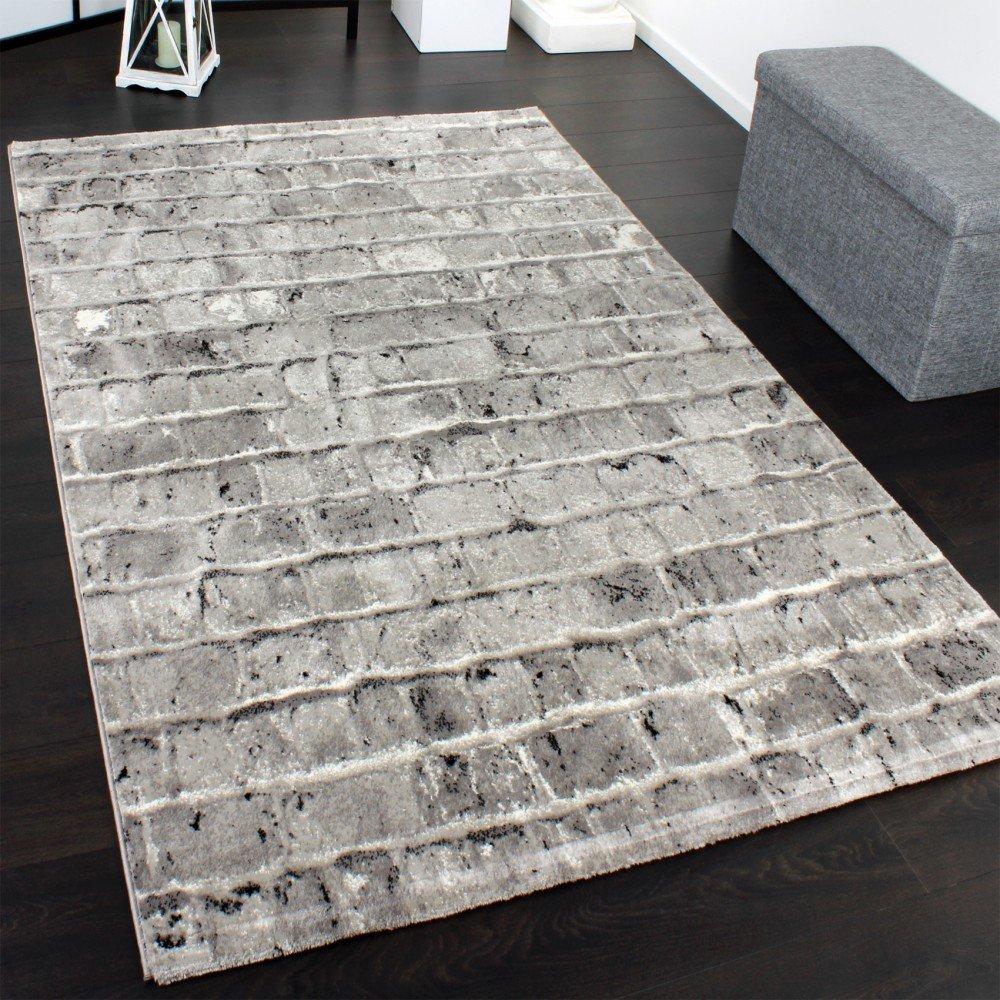 Edler designer teppich mit steinwand optik in grau schwarz meliert ...