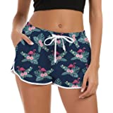 Rave on Friday Women Swim Shorts 3D Printed Quick Dry Beach Board Swim Trunks Ladies Breathable Swimwear Girls for Workout Gy