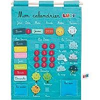 LUDI - Calendrier bleu pour enfant dès 3 ans. Panneau en tissu brodé 53 x 38 cm. Accroche murale avec une corde et une…