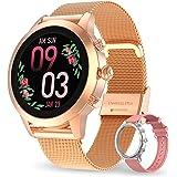 Aney Well Smartwatch Mujer, Reloj Inteligente IP68 impermeable, Monitor de Sueño y Caloría Pulsómetro, Notificaciones Intelig